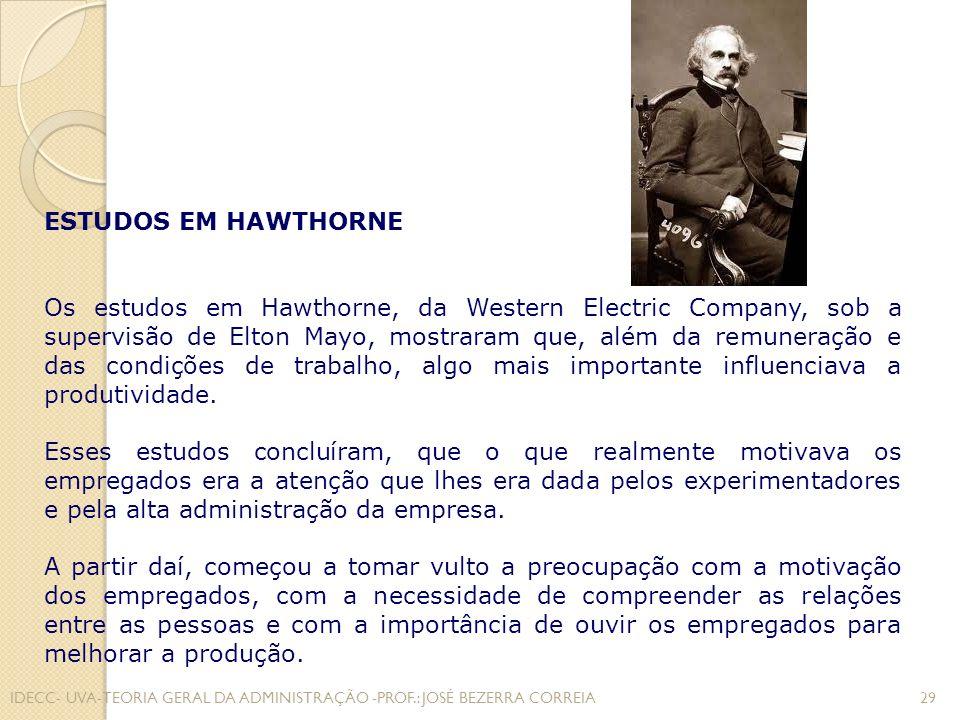ESTUDOS EM HAWTHORNE
