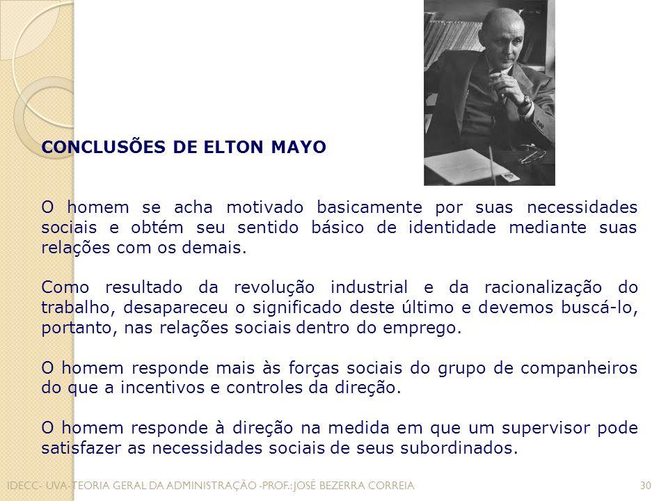 CONCLUSÕES DE ELTON MAYO