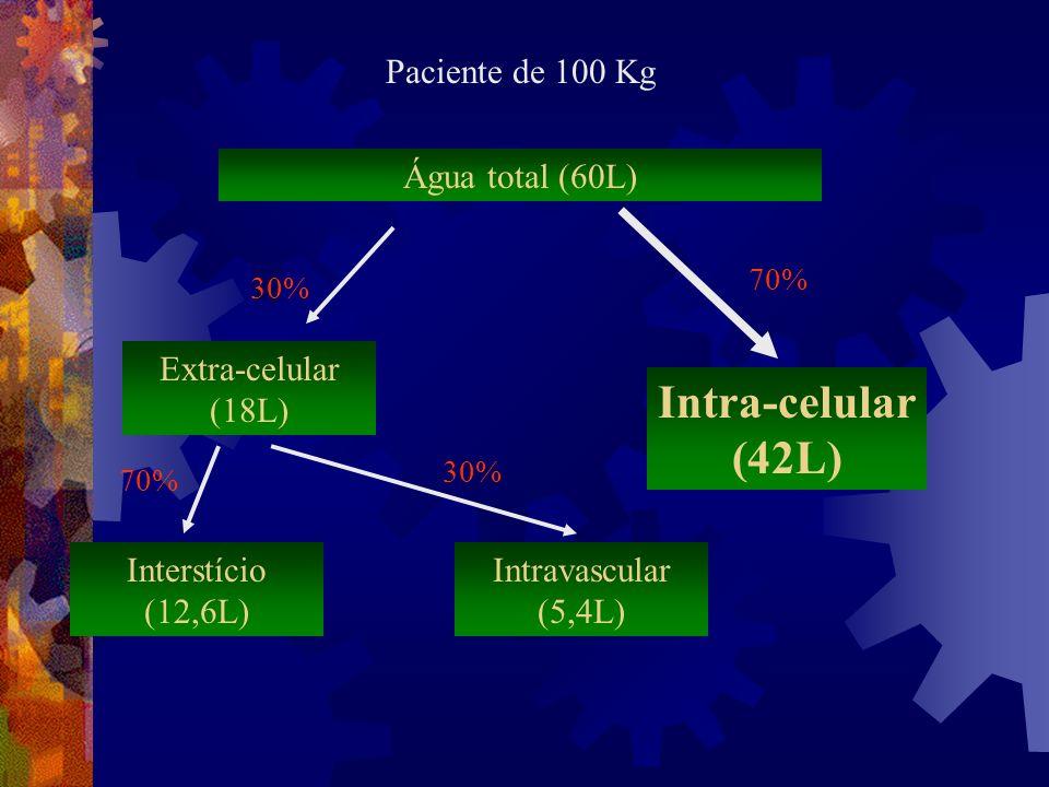 Intra-celular (42L) Paciente de 100 Kg Água total (60L)