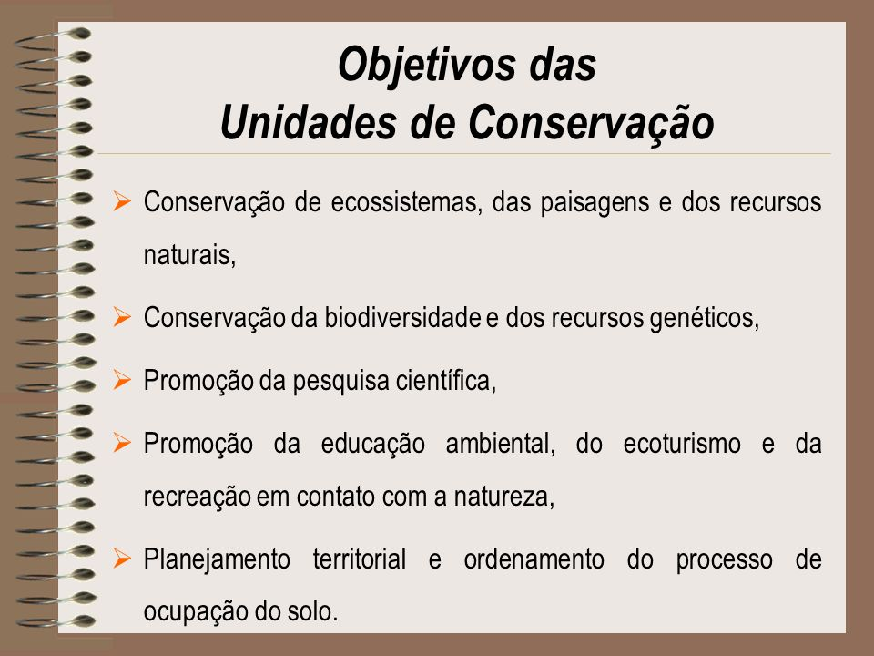 Objetivos das Unidades de Conservação