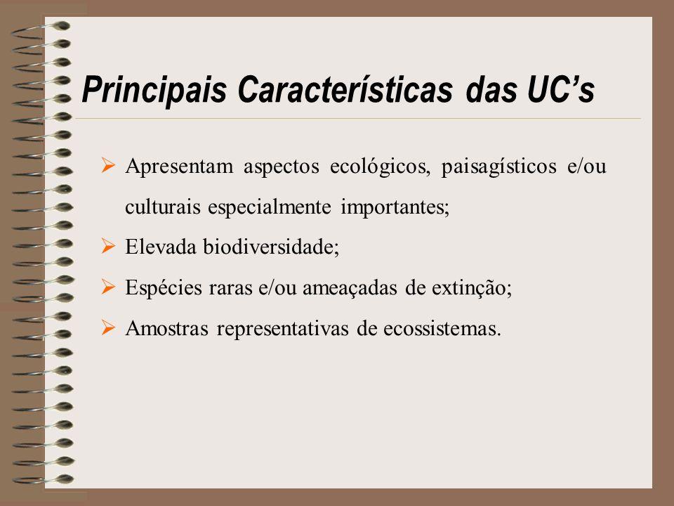 Principais Características das UC's