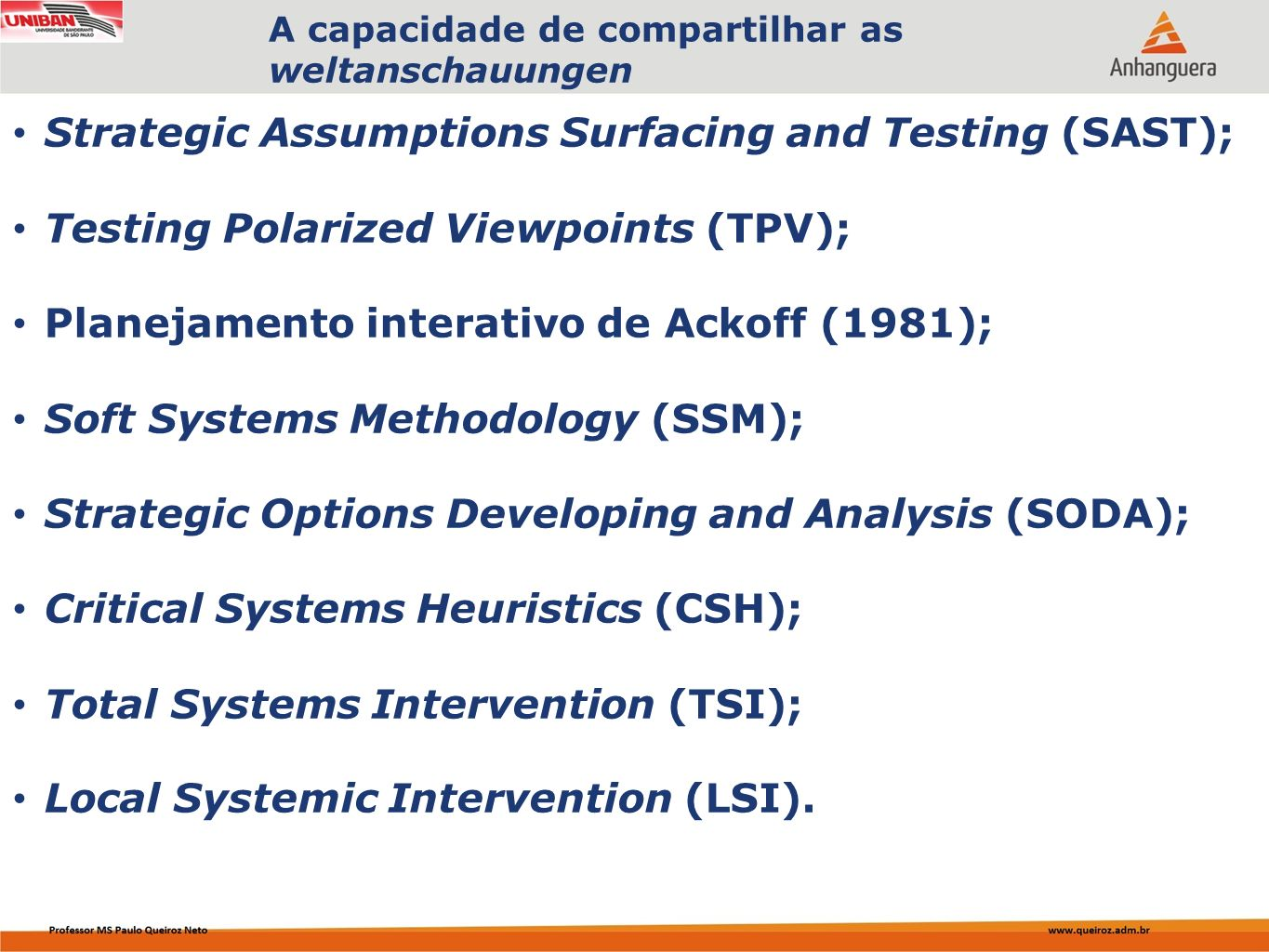 Strategic Assumptions Surfacing and Testing (SAST);