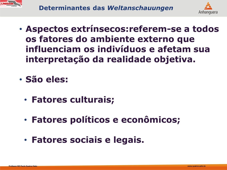 Fatores políticos e econômicos; Fatores sociais e legais.
