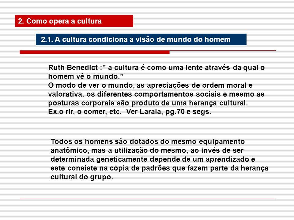 2. Como opera a cultura2.1. A cultura condiciona a visão de mundo do homem.