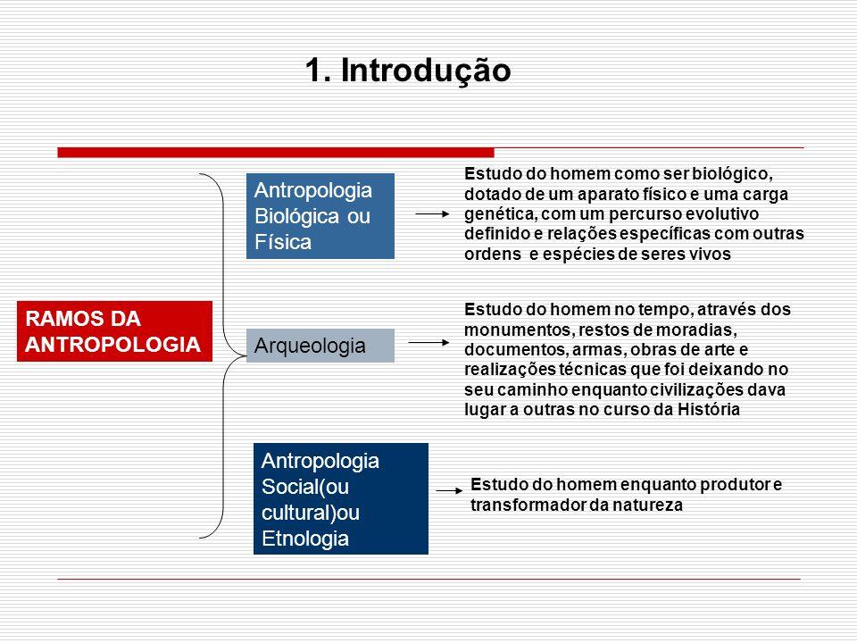 1. Introdução Antropologia Biológica ou Física RAMOS DA ANTROPOLOGIA