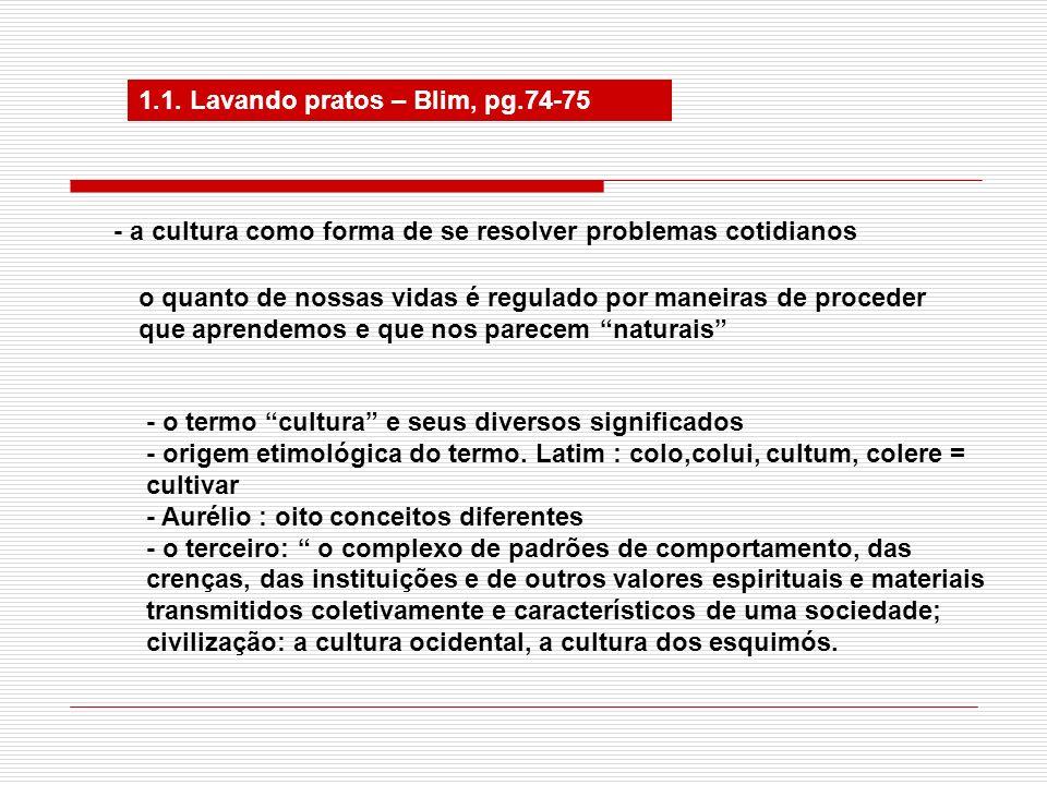 1.1. Lavando pratos – Blim, pg.74-75