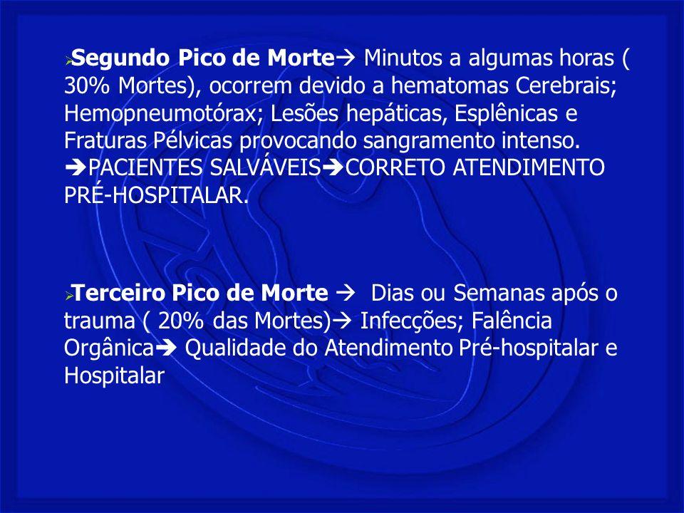 Segundo Pico de Morte Minutos a algumas horas ( 30% Mortes), ocorrem devido a hematomas Cerebrais; Hemopneumotórax; Lesões hepáticas, Esplênicas e Fraturas Pélvicas provocando sangramento intenso. PACIENTES SALVÁVEISCORRETO ATENDIMENTO PRÉ-HOSPITALAR.