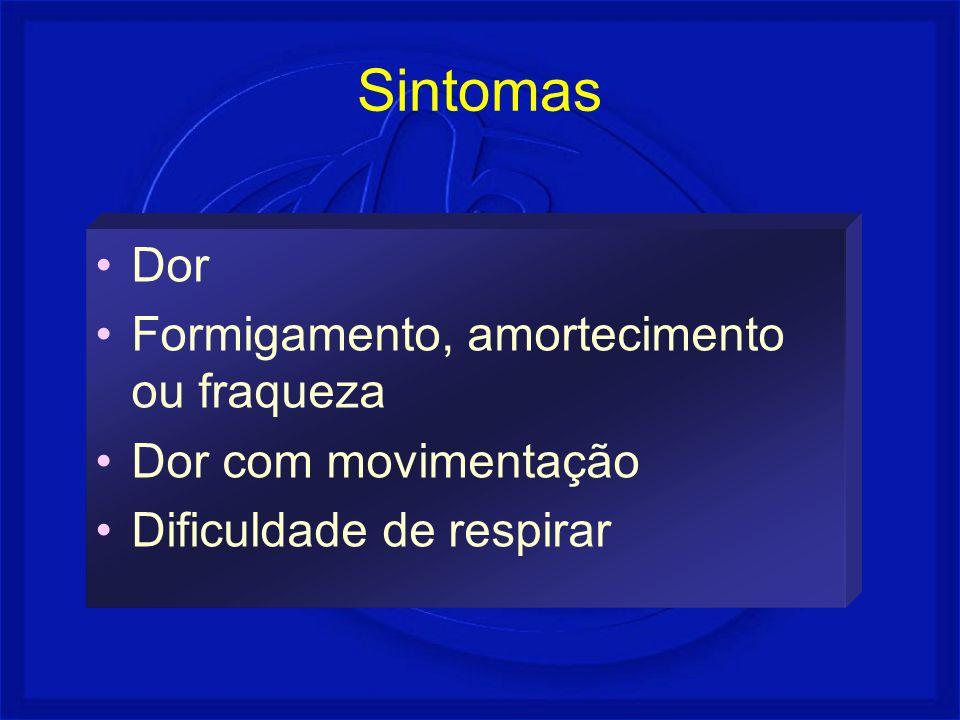 Sintomas Dor Formigamento, amortecimento ou fraqueza
