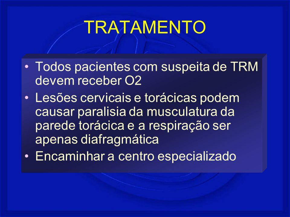 TRATAMENTO Todos pacientes com suspeita de TRM devem receber O2