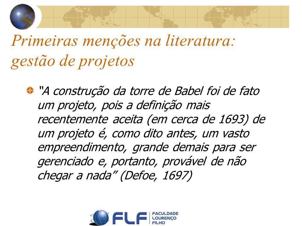 Primeiras menções na literatura: gestão de projetos