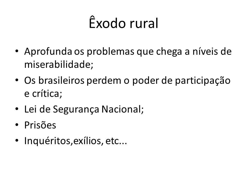 Êxodo rural Aprofunda os problemas que chega a níveis de miserabilidade; Os brasileiros perdem o poder de participação e crítica;