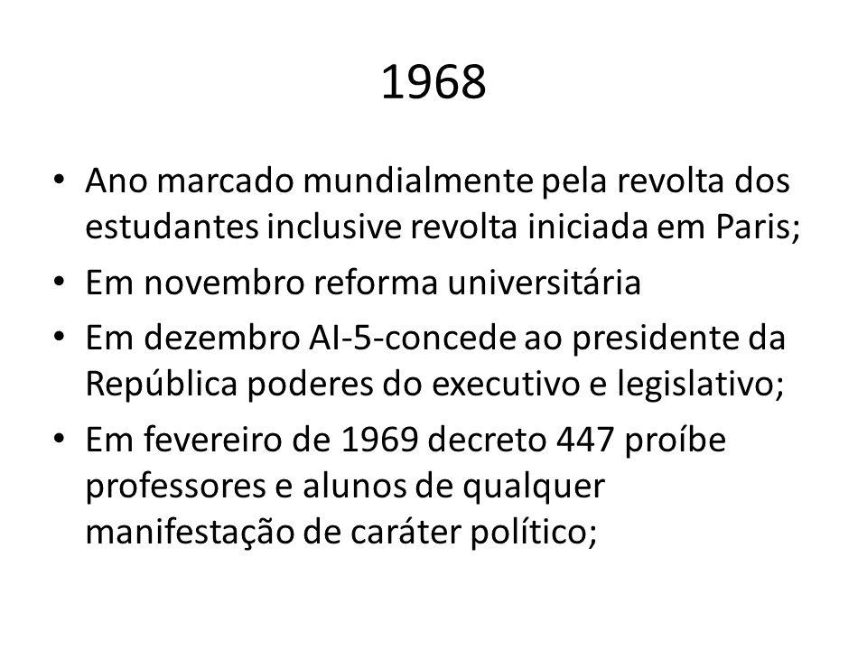 1968 Ano marcado mundialmente pela revolta dos estudantes inclusive revolta iniciada em Paris; Em novembro reforma universitária.