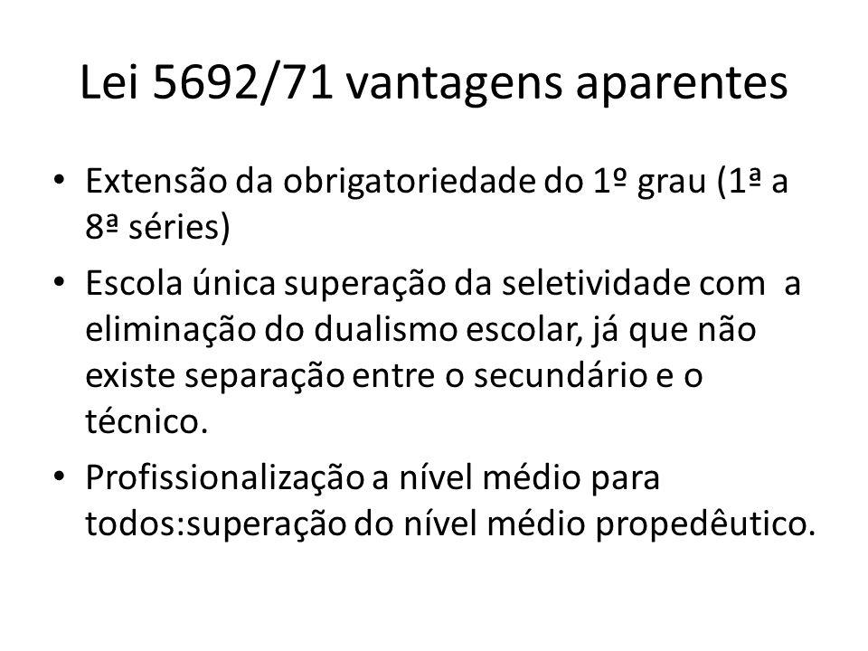 Lei 5692/71 vantagens aparentes