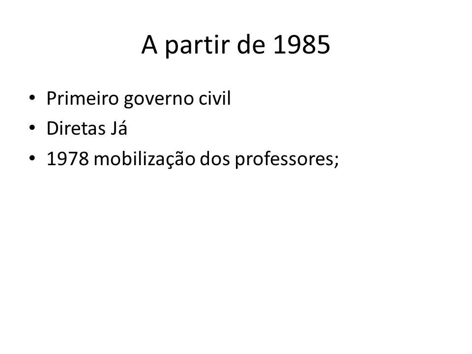 A partir de 1985 Primeiro governo civil Diretas Já