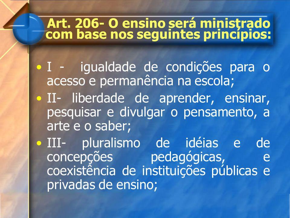 Art. 206- O ensino será ministrado com base nos seguintes princípios: