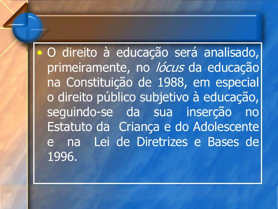 O direito à educação será analisado, primeiramente, no lócus da educação na Constituição de 1988, em especial o direito público subjetivo à educação, seguindo-se da sua inserção no Estatuto da Criança e do Adolescente e na Lei de Diretrizes e Bases de 1996.