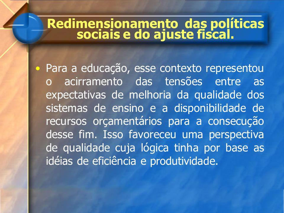 Redimensionamento das políticas sociais e do ajuste fiscal.
