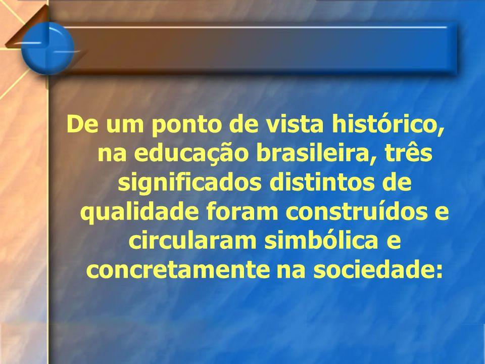 De um ponto de vista histórico, na educação brasileira, três significados distintos de qualidade foram construídos e circularam simbólica e concretamente na sociedade: