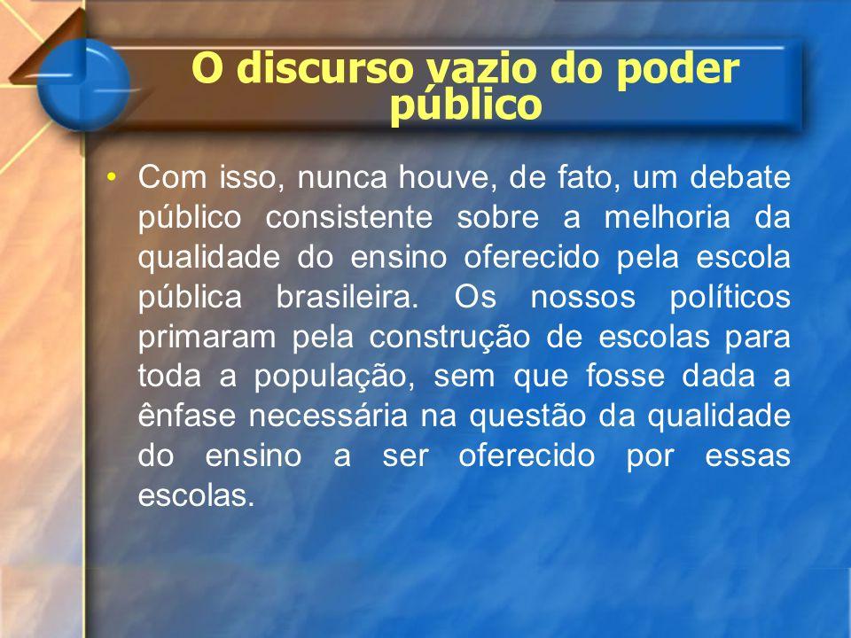 O discurso vazio do poder público