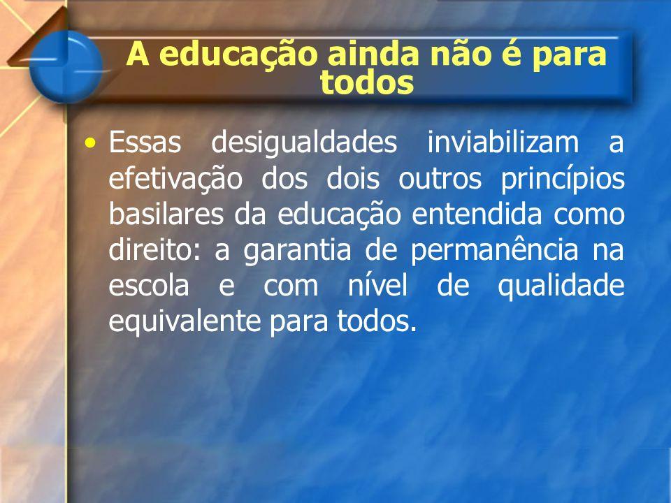 A educação ainda não é para todos