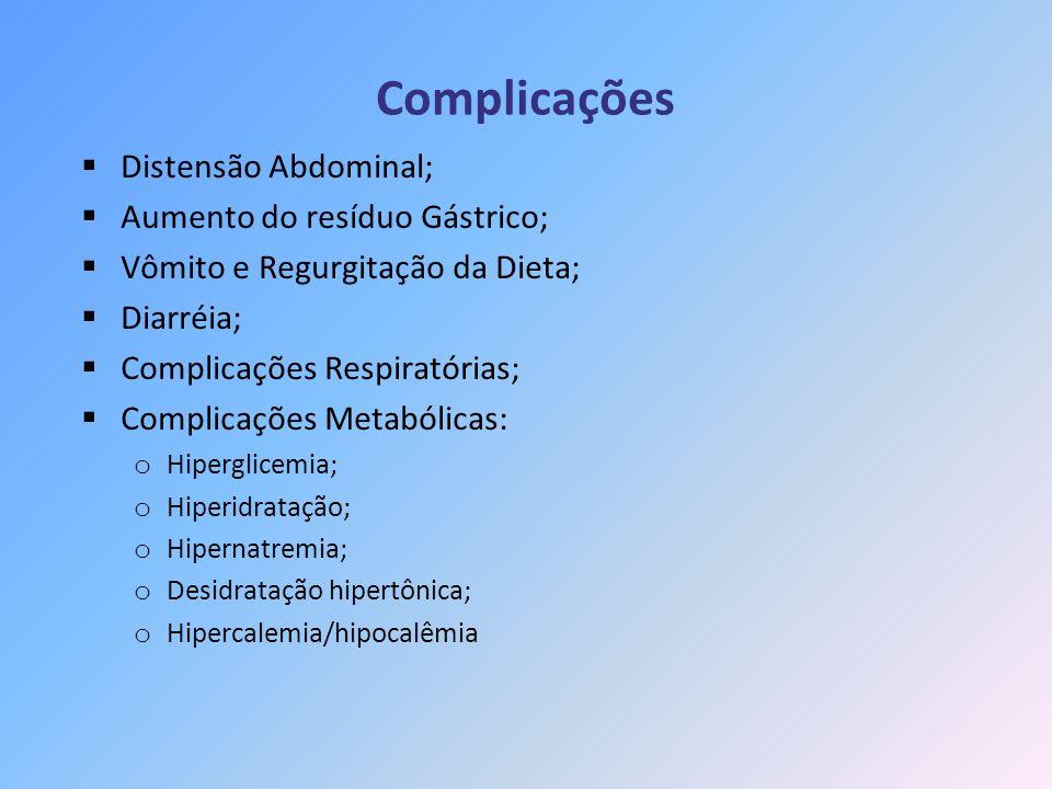 Complicações Distensão Abdominal; Aumento do resíduo Gástrico;