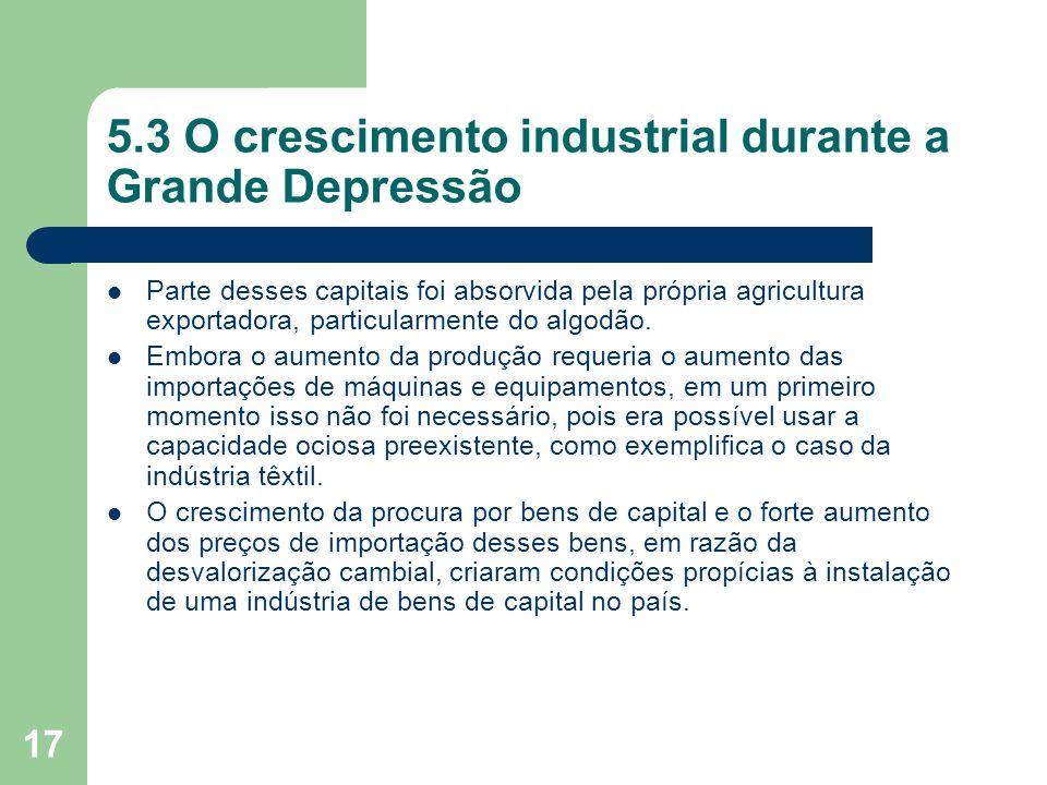 5.3 O crescimento industrial durante a Grande Depressão