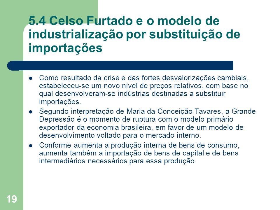 5.4 Celso Furtado e o modelo de industrialização por substituição de importações