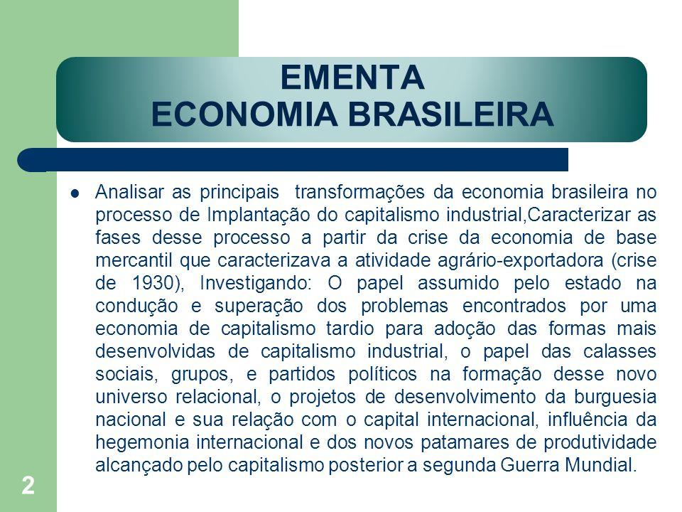 EMENTA ECONOMIA BRASILEIRA