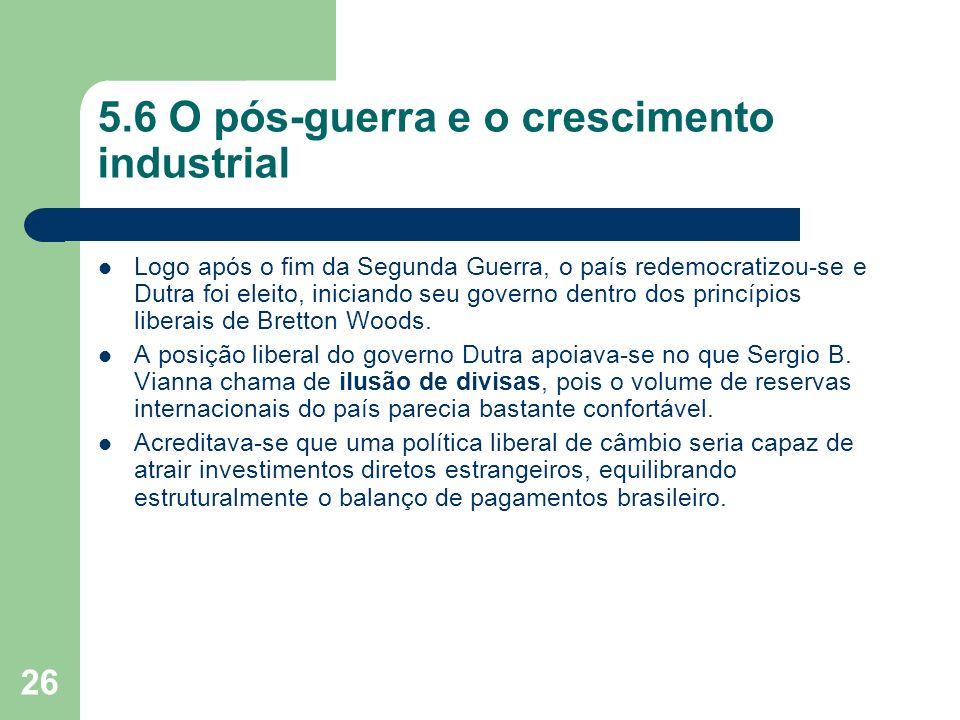 5.6 O pós-guerra e o crescimento industrial