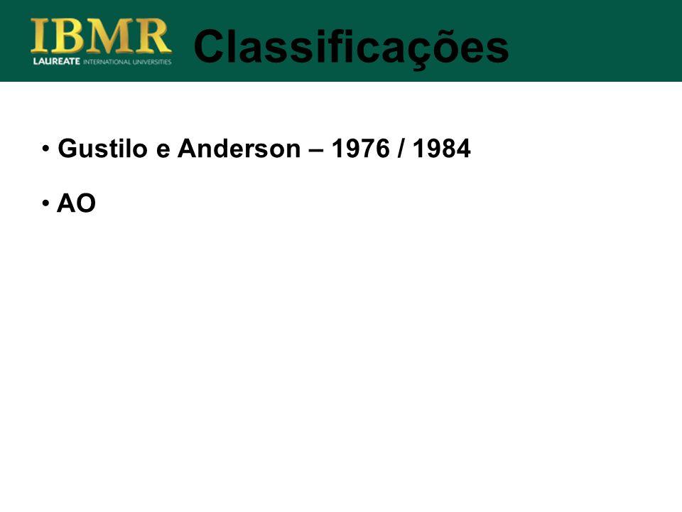 Classificações Gustilo e Anderson – 1976 / 1984 AO