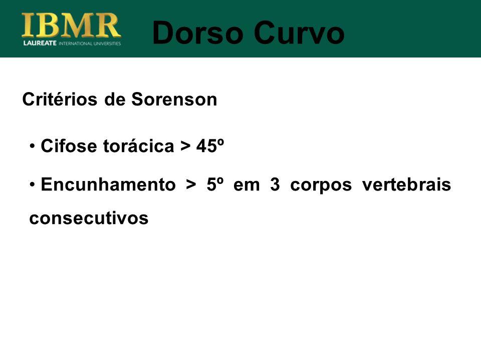 Dorso Curvo Critérios de Sorenson Cifose torácica > 45º
