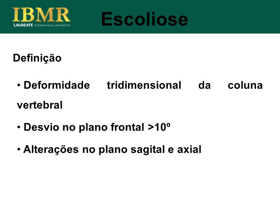 Escoliose Definição Deformidade tridimensional da coluna vertebral