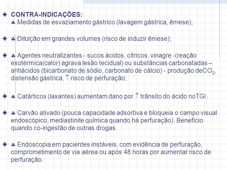 CONTRA-INDICAÇÕES:  Medidas de esvaziamento gástrico (lavagem gástrica, êmese);