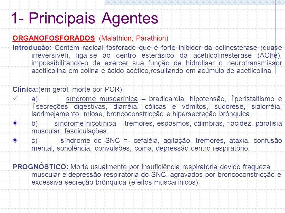 1- Principais Agentes ORGANOFOSFORADOS (Malathion, Parathion)