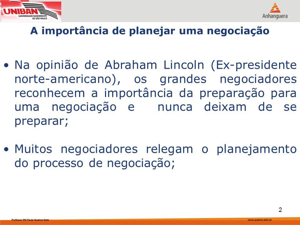Muitos negociadores relegam o planejamento do processo de negociação;
