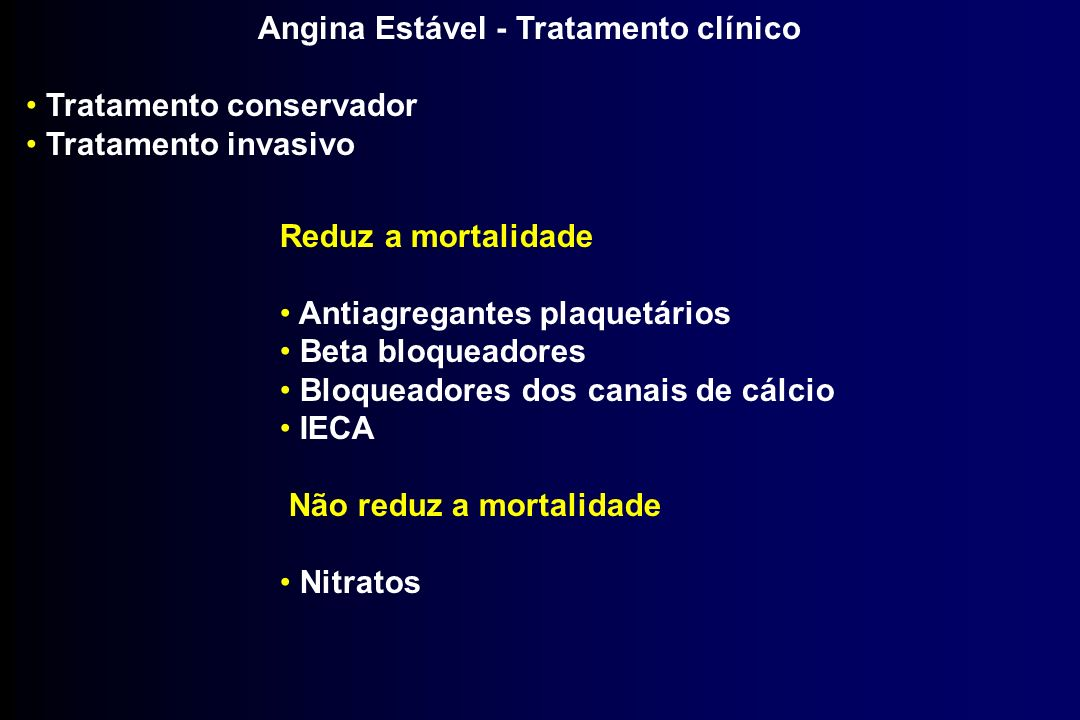 Angina Estável - Tratamento clínico