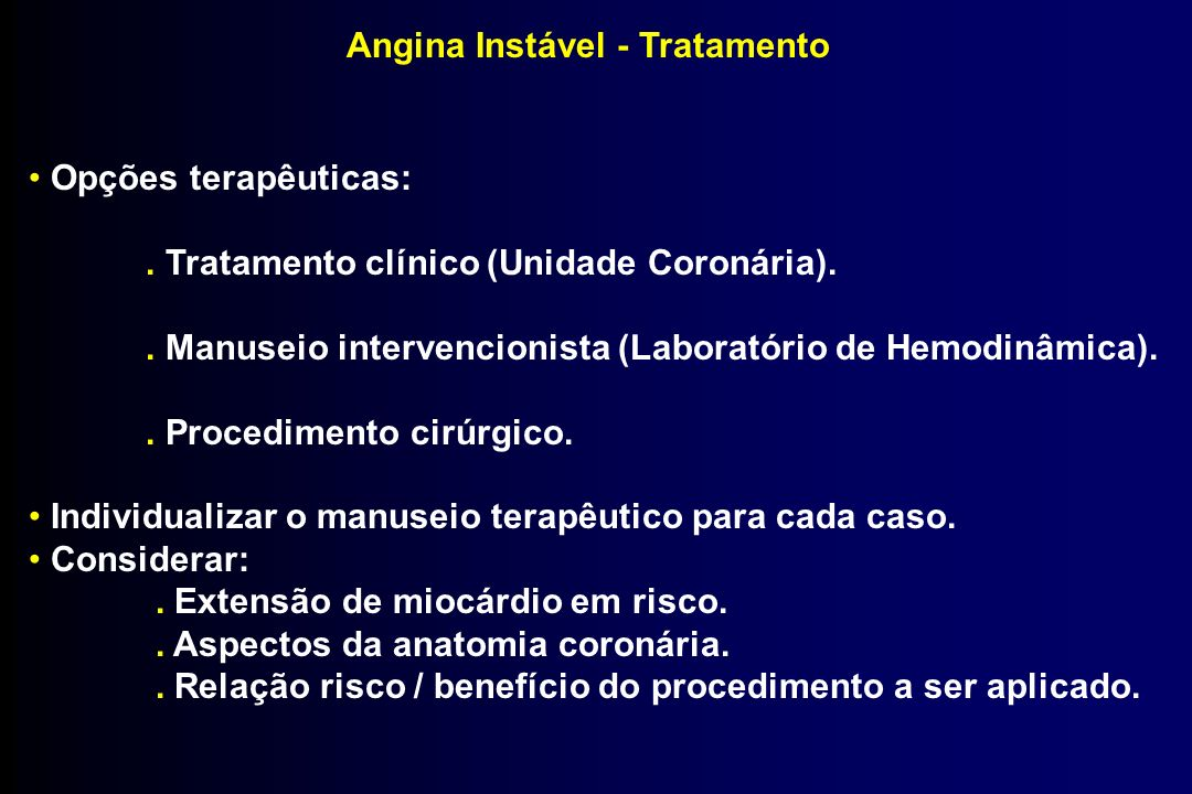 Angina Instável - Tratamento