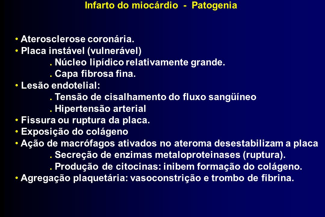 Infarto do miocárdio - Patogenia