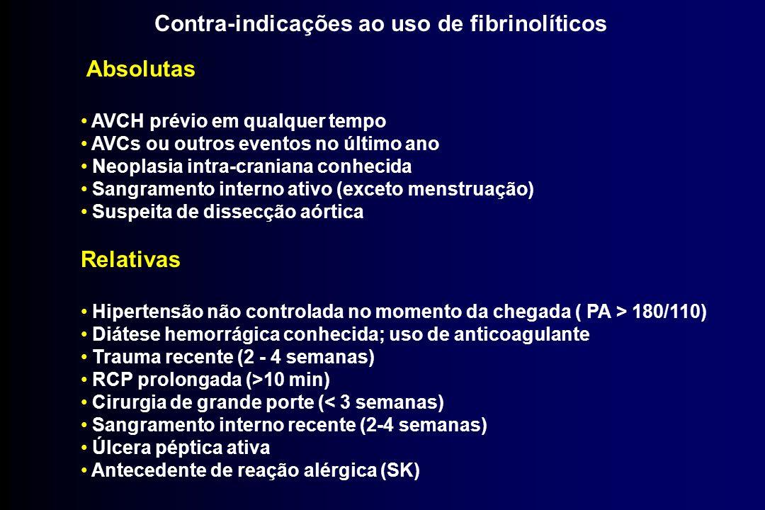 Contra-indicações ao uso de fibrinolíticos