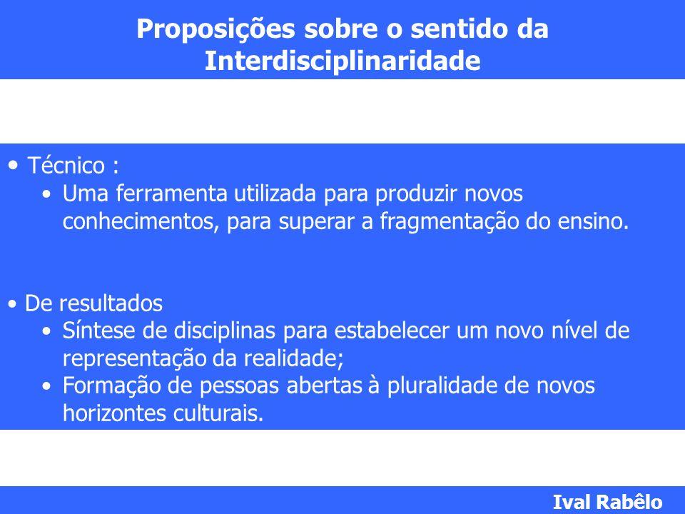 Proposições sobre o sentido da Interdisciplinaridade