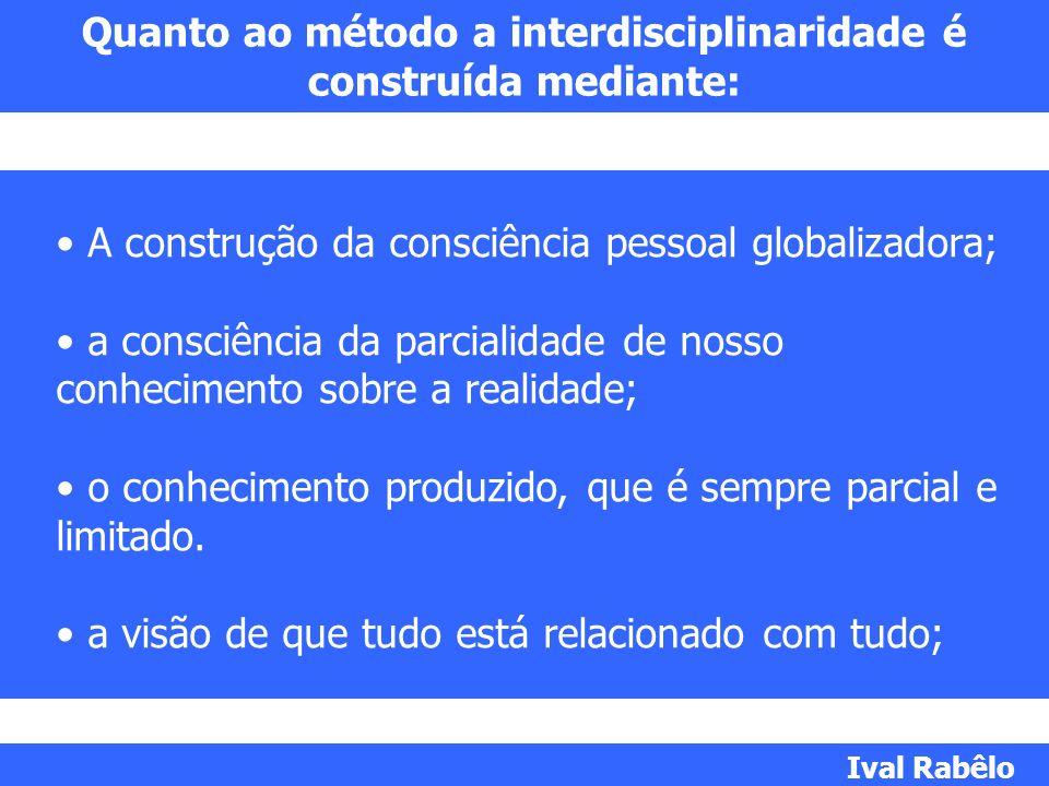 Quanto ao método a interdisciplinaridade é construída mediante:
