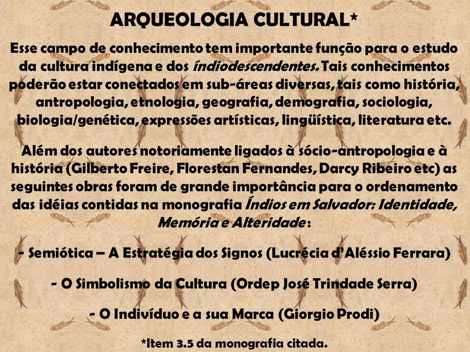 ARQUEOLOGIA CULTURAL* Esse campo de conhecimento tem importante função para o estudo da cultura indígena e dos índiodescendentes.