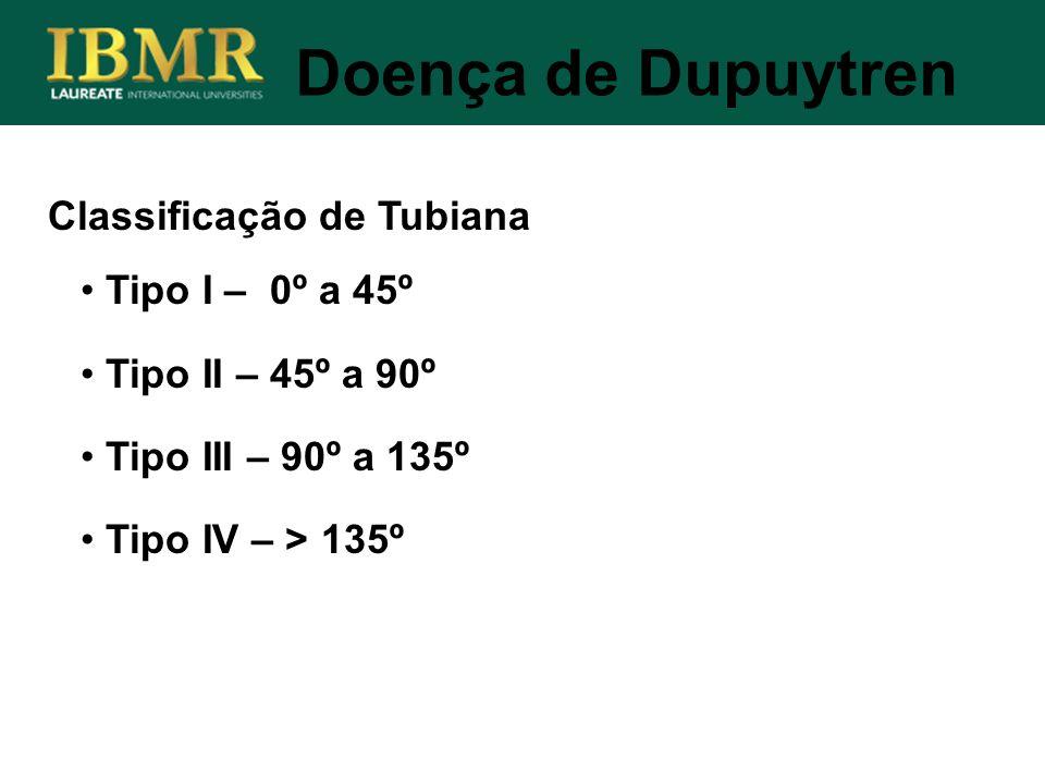 Doença de Dupuytren Classificação de Tubiana Tipo I – 0º a 45º