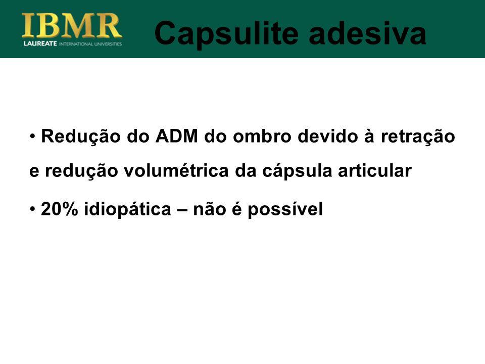 Capsulite adesiva Redução do ADM do ombro devido à retração e redução volumétrica da cápsula articular.