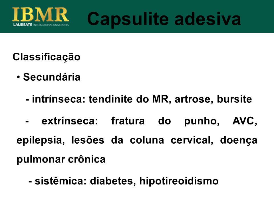 Capsulite adesiva Classificação Secundária