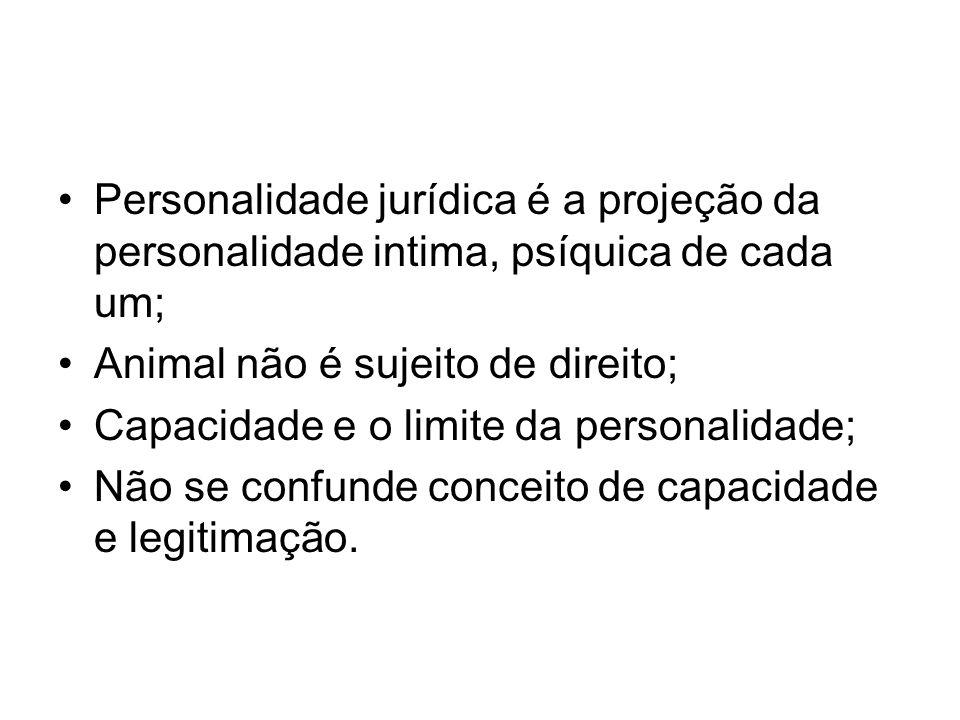 Personalidade jurídica é a projeção da personalidade intima, psíquica de cada um;