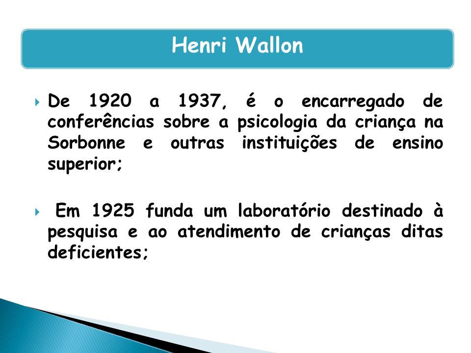 Henri Wallon De 1920 a 1937, é o encarregado de conferências sobre a psicologia da criança na Sorbonne e outras instituições de ensino superior;