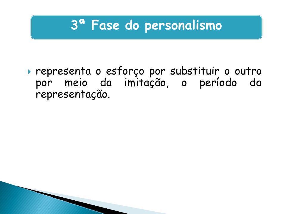3ª Fase do personalismo representa o esforço por substituir o outro por meio da imitação, o período da representação.
