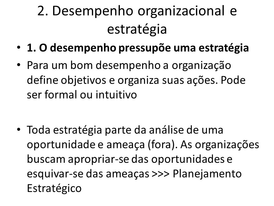2. Desempenho organizacional e estratégia