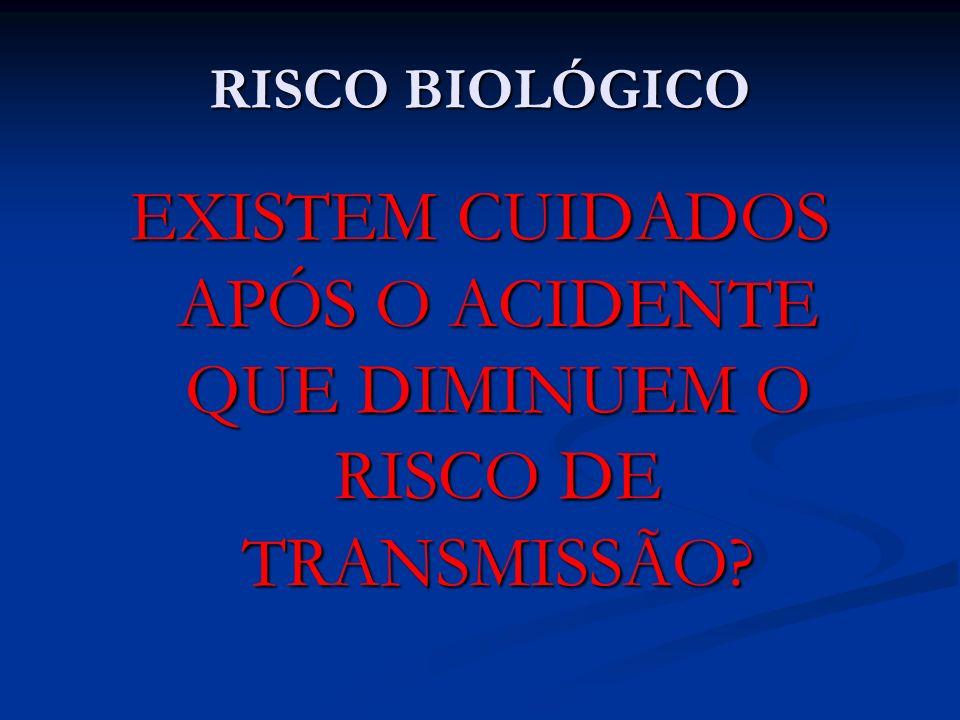 EXISTEM CUIDADOS APÓS O ACIDENTE QUE DIMINUEM O RISCO DE TRANSMISSÃO